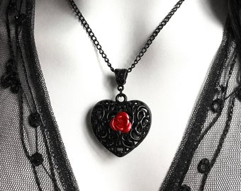 Black Filigree Heart Necklace with Red Rose, Gothic Victorian Pendant, Romantic Valentine Gift For Girlfriend Wife, Alternative Jewelry