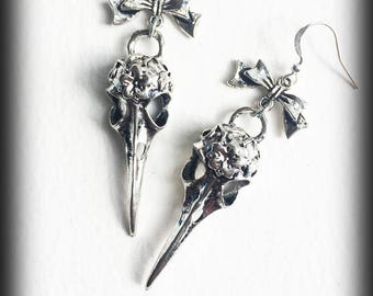 Raven Skull Earrings, Crow Skull Earrings, Gothic Earrings, Bird Skull Earrings, Antique Silver, Gothic Jewelry, Alternative Jewelry