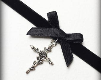 Gothic Cross Choker, Black Velvet Choker Necklace, Gothic Victorian Bow Choker, Silver Rose Cross, Handmade Jewelry, Gothic Gift