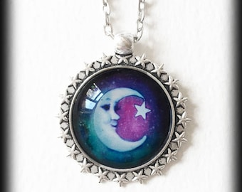Moon and Stars Necklace, Glass Cameo Crescent Moon Pendant, Celestial Galaxy Necklace, Boho Necklace, Wiccan Jewelry, Handmade Jewelry