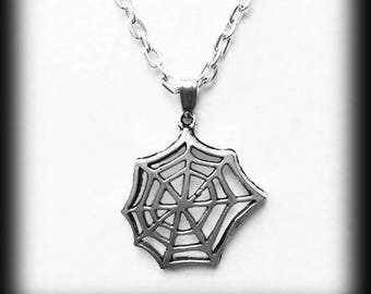 Cobweb Charm Necklace, Gothic Silver Cobweb Pendant, Alternative Jewelry, Handmade Necklace, Halloween Jewelry, Gothic Jewelry Gift For Her