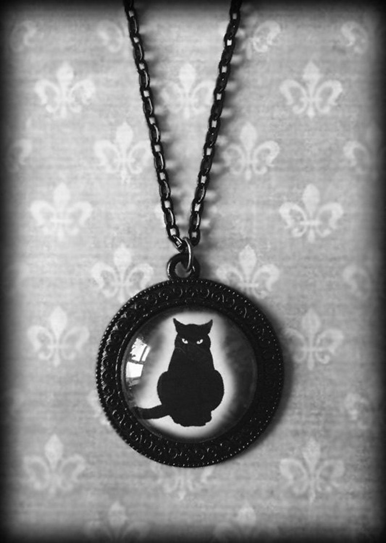 Witch Wiccan Jewelry Gothic Pendant Gift For Her Halloween Jewelry Handmade Gothic Jewelry Glass Cameo Pendant Black Cat Necklace