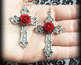 Gothic Cross Earrings With Red Roses, Silver Cross Earrings, Alternative Jewelry, Gothic Jewelry, Handmade, Gothic Wedding, Romantic Jewelry