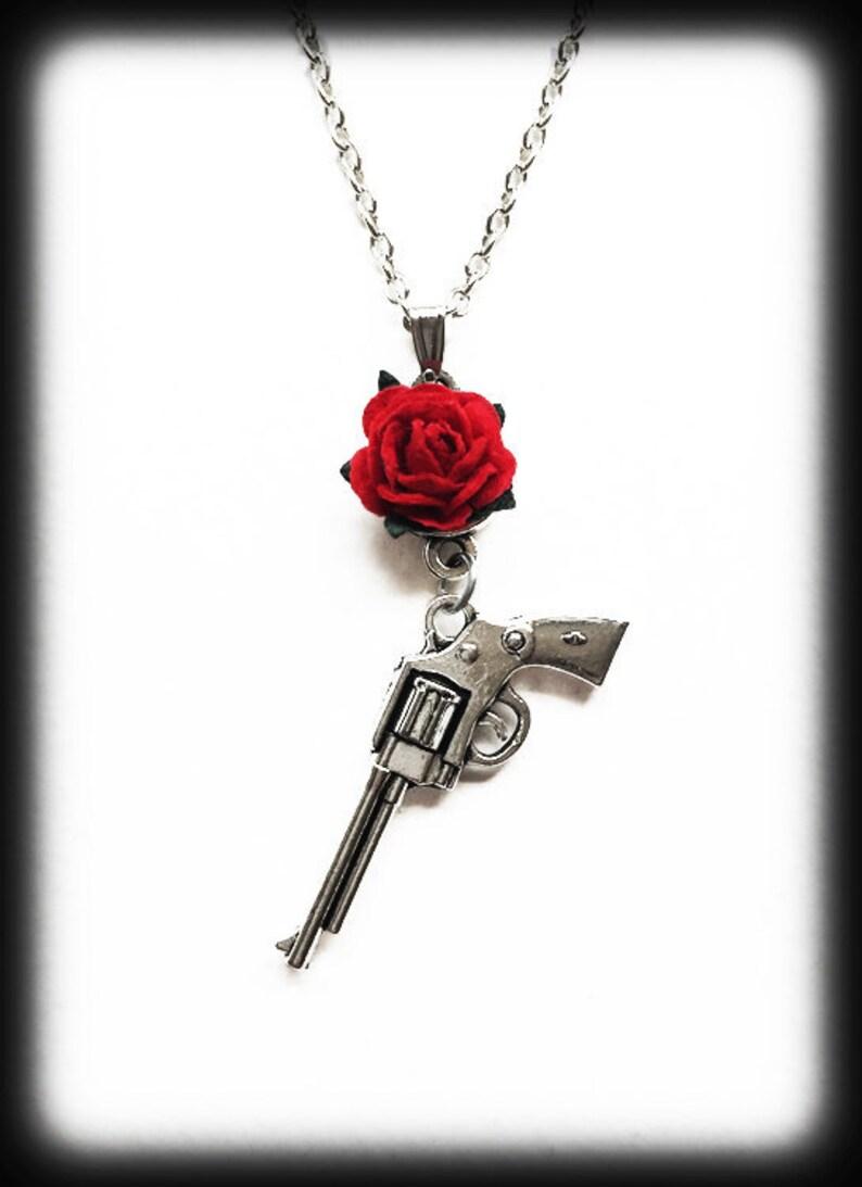 Pistol Gun Pendant Girlfriend Gift Festival Guns and Roses Necklace Rock Music Fan Jewelry Alternative Jewelry Rock Band Necklace