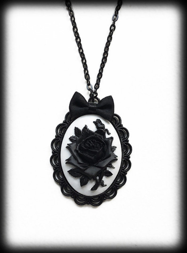 17fd8e6d72e Black and White Rose Cameo Pendant Necklace Gothic Victorian   Etsy