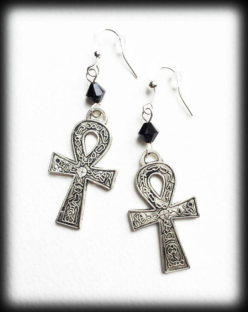 Silver Ankh Earrings, Egyptian Gothic Wicca Pagan, Jet Crystals,  Alternative Jewelry, Gothic Jewelry, Handmade Jewelry, Vampire Earrings