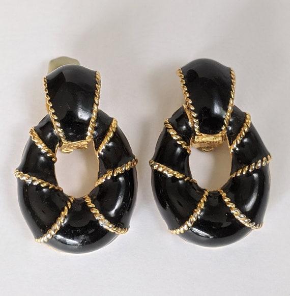 Ciner Door Knocker Earrings, Ciner Black Enamel Cl