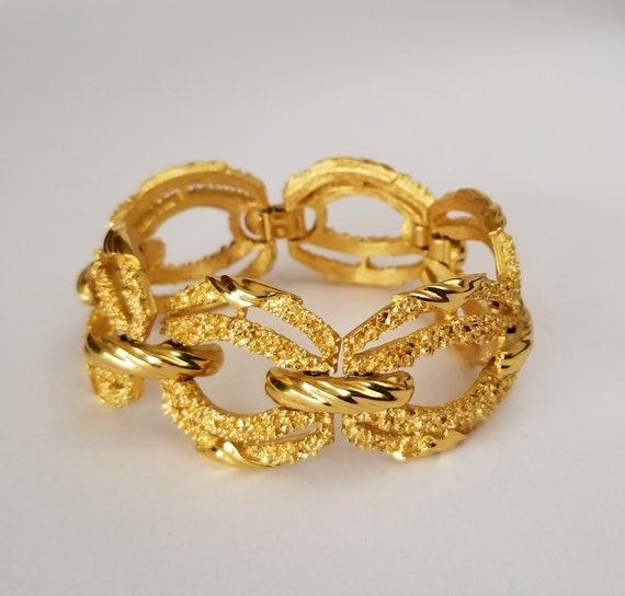 Trifari Gold Tone Bracelet, Vintage Crown Trifari