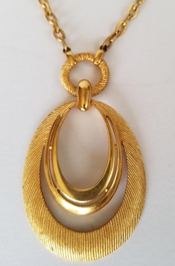 Trifari Teardrop Pendant Necklace, Crown Trifari G