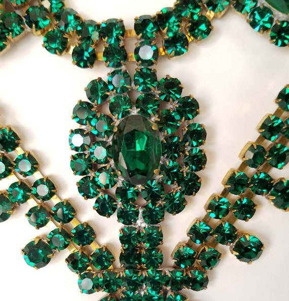 Czech Rhinestone Necklace Earrings Set, Vintage G… - image 8