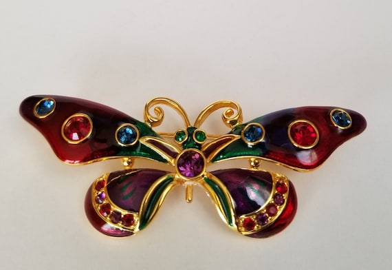 Butterfly brooch, Joan Rivers Plique a Jour Butter