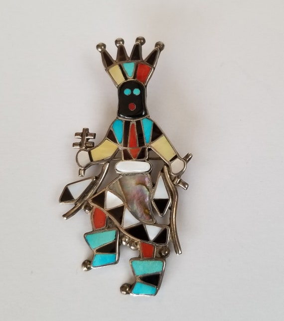 Southwest Inlay Figural Brooch Zuni Linette Laiwakete Inlay Kachina Figural Brooch Southwest Inlay Large Brooch Signed