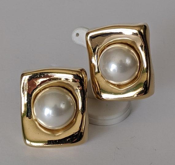 Ciner Large Faux Pearl Earrings, Ciner Oversized S
