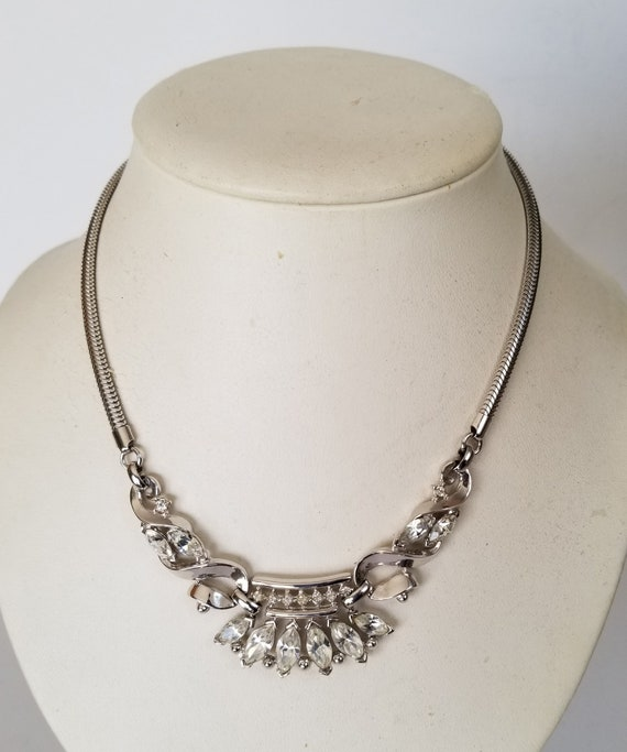 "Trifari ""Coronet"" Necklace, Trifari Silver Tone Sn"