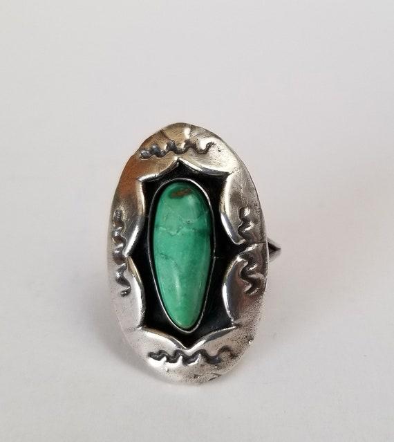 Turquoise Ring, deep set green turquoise large ova
