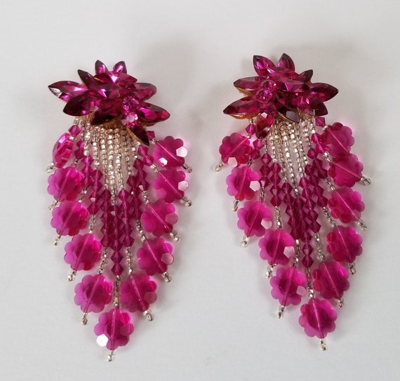 Fuchsia Rhinestone Chandelier Earrings, 1980s Nigh