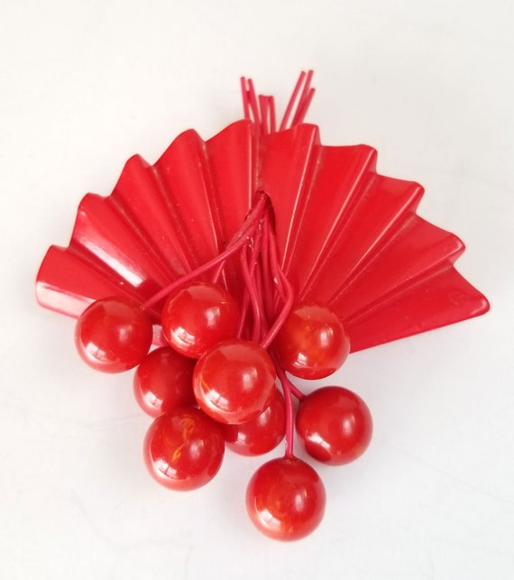 Bakelite Cherry Brooch, Vintage Large Carved Bakel