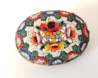 Micro Mosaic Brooch, Italian Micro Mosaic Pin, Made in Italy Mosaic brooch, Circa 1950