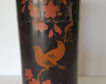 Vintage Kuwayama & Co Japanese tea tin, marked, black with red birds, early 20th century