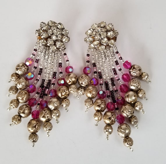 Nightingale Runway Earrings, silver and pink rhine