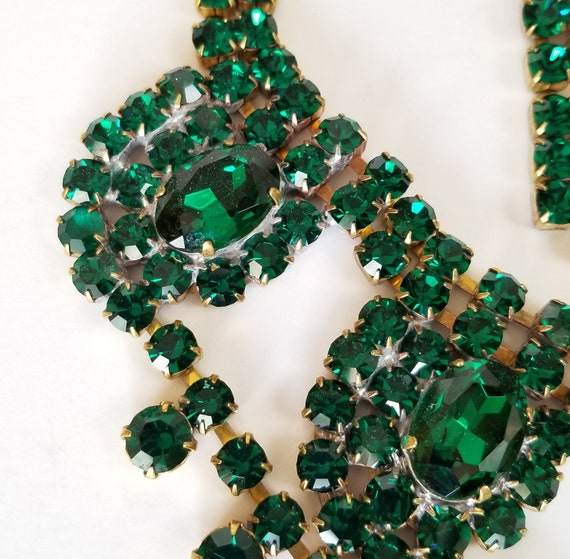 Czech Rhinestone Necklace Earrings Set, Vintage G… - image 7