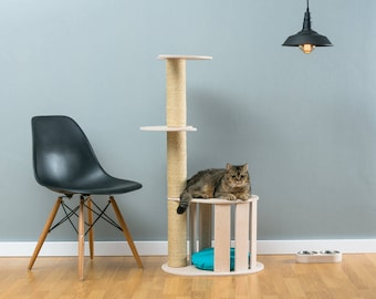 Cat house with sisal tree Cletis White   WORLDWIDE SHIPPING   Modern Cat Furniture   Climb Tree   Shelf   Toy   Bed   House   Tower