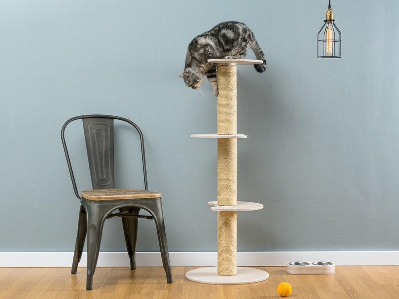 Sisal cat tree Ozzy White  WORLDWIDE SHIPPING  Modern Cat image 0
