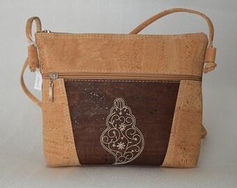 e422f371c84 Natural cork cross body bag shoulder foldover bag clutch vegan leather Cork  bags Wooden vintage