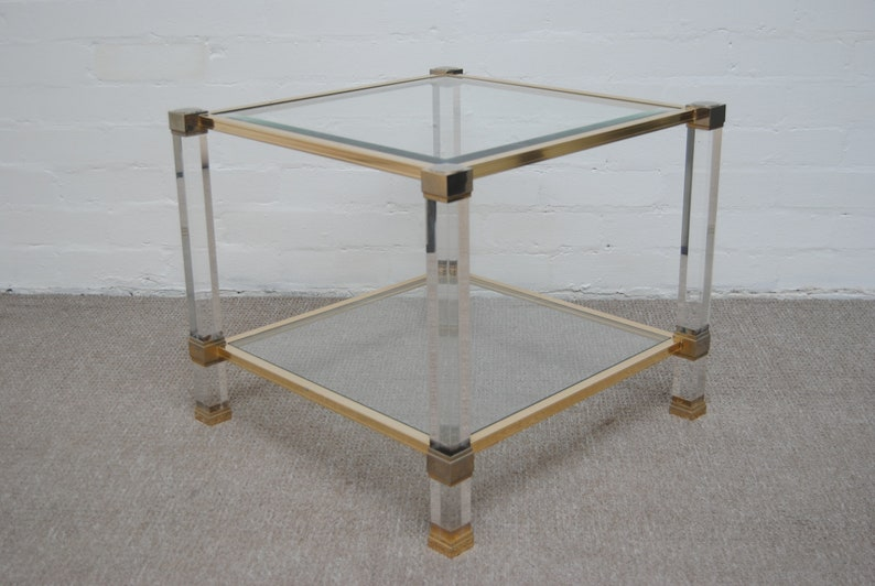 Pierre Vandel Square Lucite And Glass Coffee Side Table Etsy