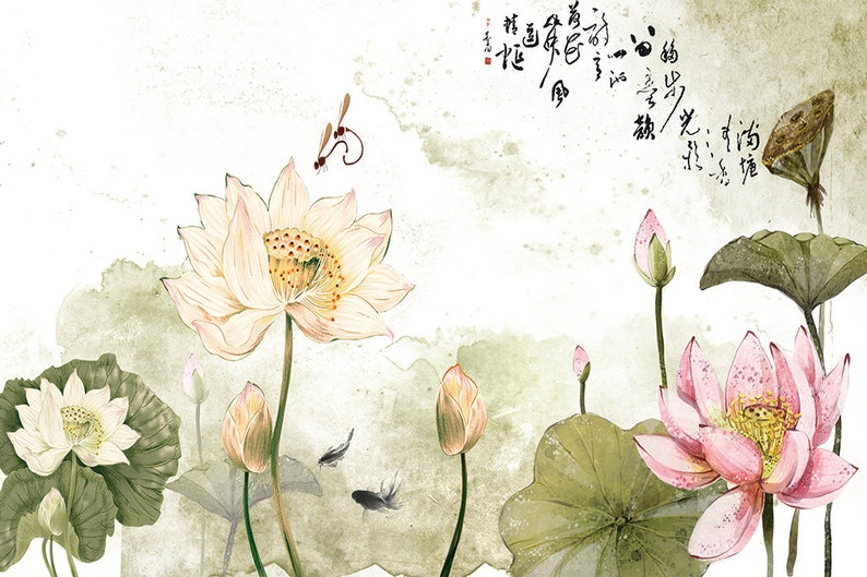 Art Wall Mural Diy Lotus Flowers Chinese Style Decorative Wall Etsy