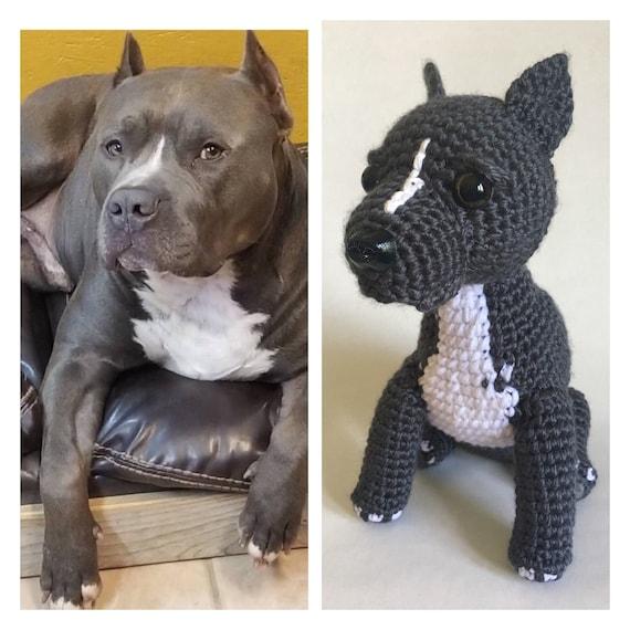 Custom Crochet Pitbull Crochet Pitbull Stuffed Dog Custom Etsy