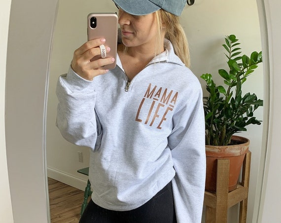 Mama Life // Ash Quarter Zip Up