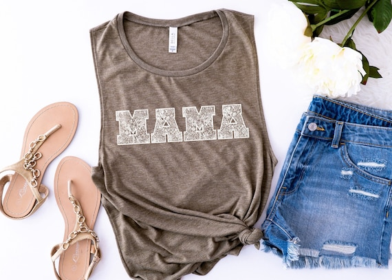 MAMA floral muscle tank // Heather Olive