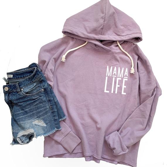 Mama Life // Purple Raw Hem Hoodie