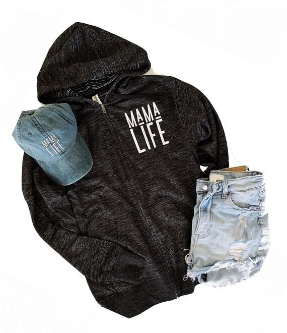 Mama Life // Black Zip Up - SALE