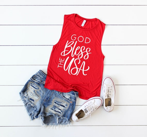 God Bless The USA // Red Muscle Tank