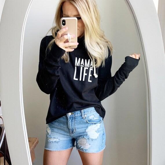 Mama Life // Black Raw Hem Hoodie