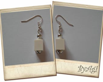 Sterling Silver Earhooks Lego bricks earrings.