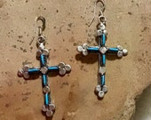Authentic Native American Indian Jewelry Zuni Sterling Silver Turquoise Petit Point Cross Earrings Needlepoint Southwestern Jewelry
