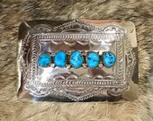 SIGNED Authentic Vintage Native America Indian Navajo Zuni Sterling Silver RARE Sleeping Beauty Turquoise Belt Buckle Southwestern