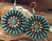 SIGNED Native America Indian Jewelry Navajo Earrings Zuni Sterling Silver Kingman Turquoise Petit Point Southwestern Jewelry Needlepoint