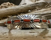 SIGNED Vintage Native America Indian Jewelry Navajo Bracelet Cuff Zuni Sterling Silver Red Coral Petit Point Southwest Native American Art