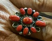Vintage Native America Indian Jewelry Navajo Zuni Petit Point Sterling Silver Red Spiny Oyster Ring Southwestern Jewelry Needlepoint