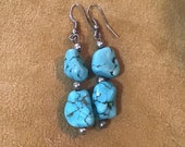 Authentic Vintage Native American Indian Navajo Zuni Turquoise Sterling Silver Earrings Southwestern Art Native America Indian Jewelry