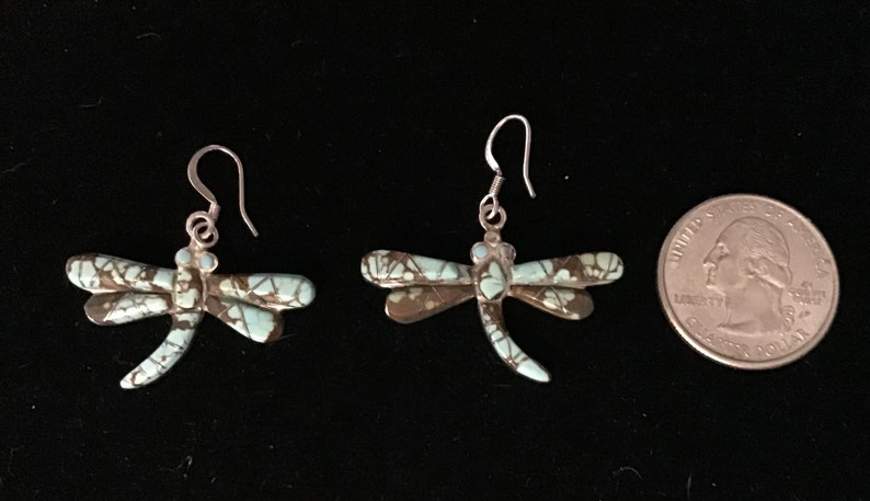 Reversible Vintage Native American Earrings Navajo Sterling Silver RARE NEVADA TURQUOISE Dragonfly Dangle Earrings  Southwestern Jewelry