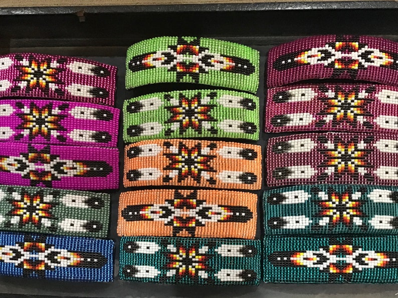 Native America Indian Jewelry Southwestern Navajo Zuni Hopi Hair Accessories Native American Art Hand Beaded Barrette Hair Clip