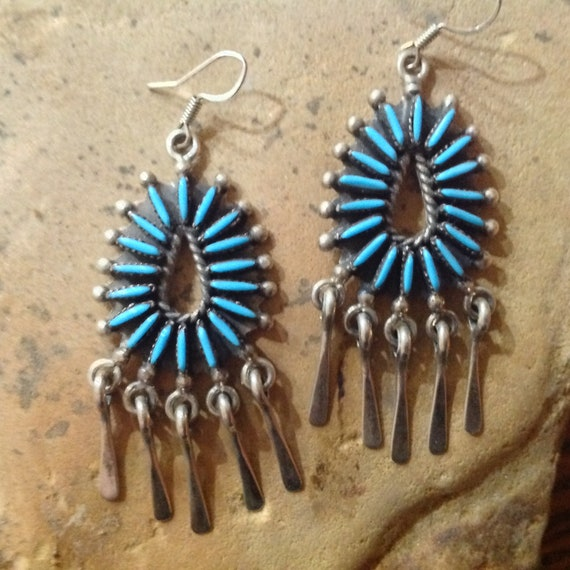 Native American Indian Jewelry Earrings Zuni Sterling Silver Navajo Hand Beaded Feather Earrings Native America Southwestern Jewelry