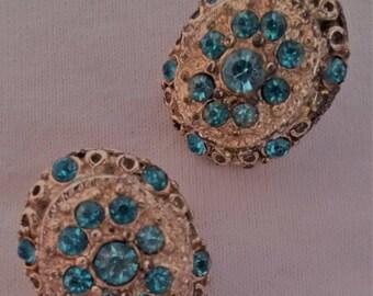 Vintage Oval Rhinestone Clip On Earrings