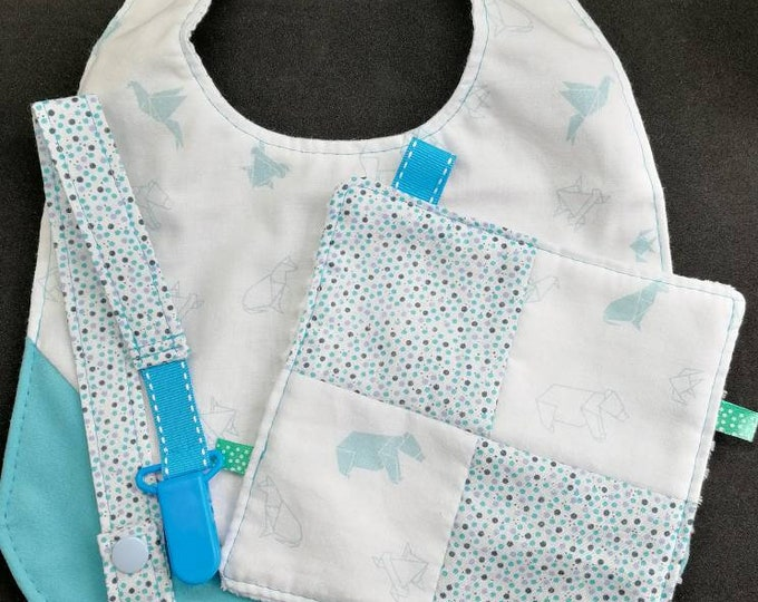 Birth blanket pacifier bib pocket