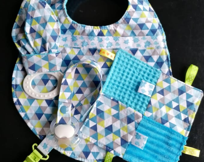 Birth blanket bib pouch attached pacifier and teether for baby